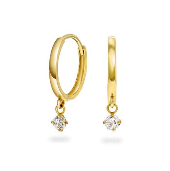 Øredobber i gult gull med zirkonia - 56950