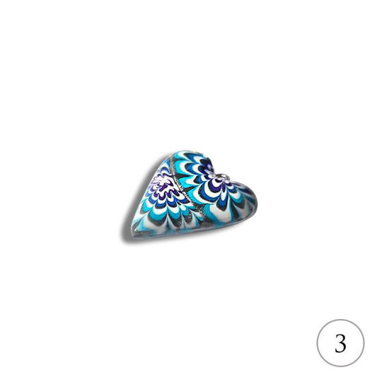 Hjertesmykke Krysantemum, blått, håndlaget  -28020691