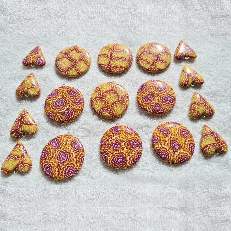 Smykke Krysantemum, burgunder og oransje, håndlaget -28020701
