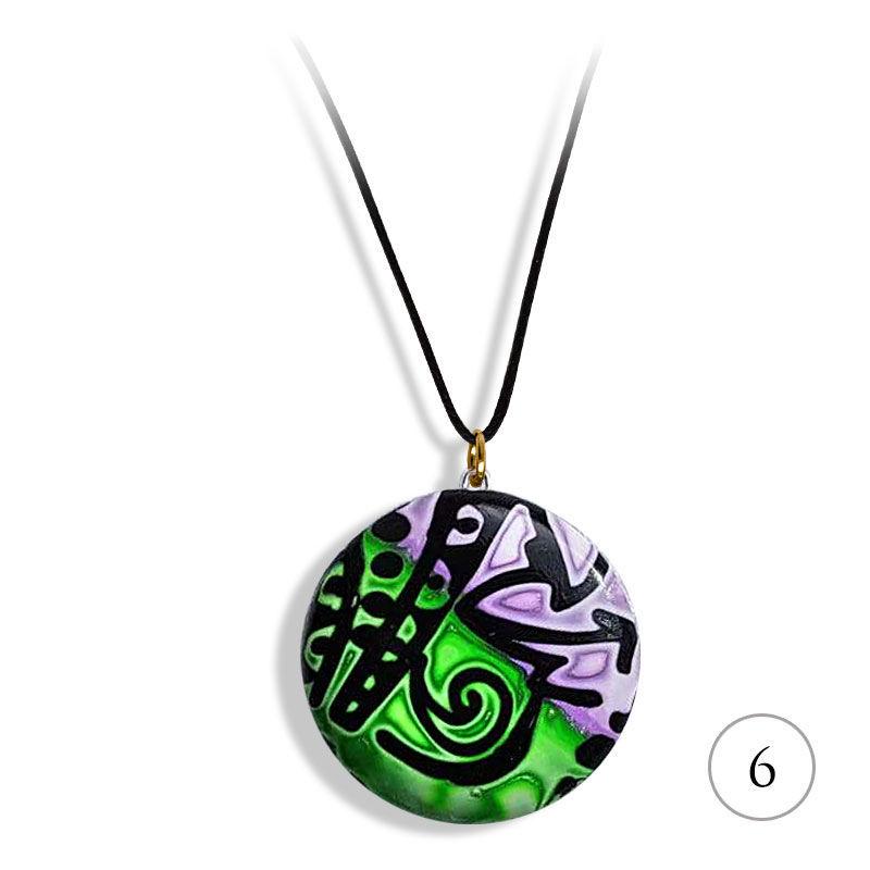 Smykke med sort & Grønn-lilla mønster, håndlaget -28020700