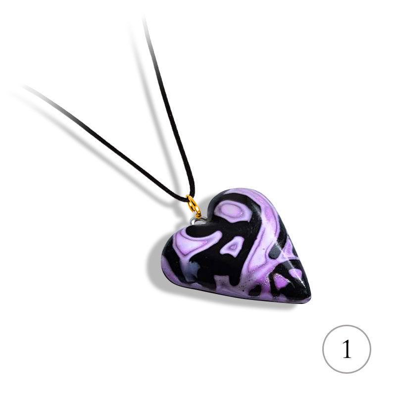 Hjertesmykke Hidden Magic, lilla, håndlaget -28020702