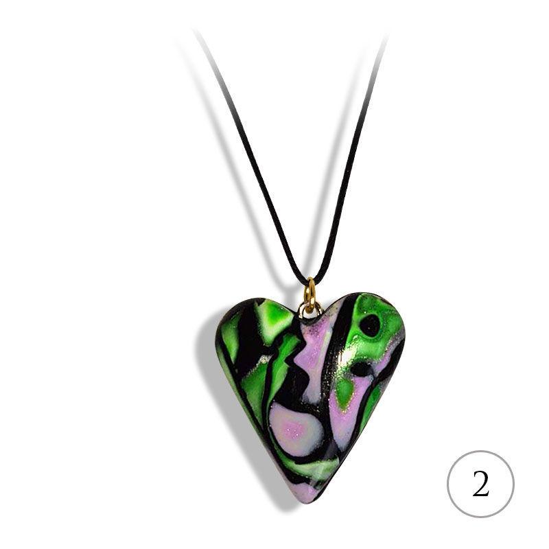 Hjertesmykke Hidden Magic, Grønn-lilla, håndlaget -28020703