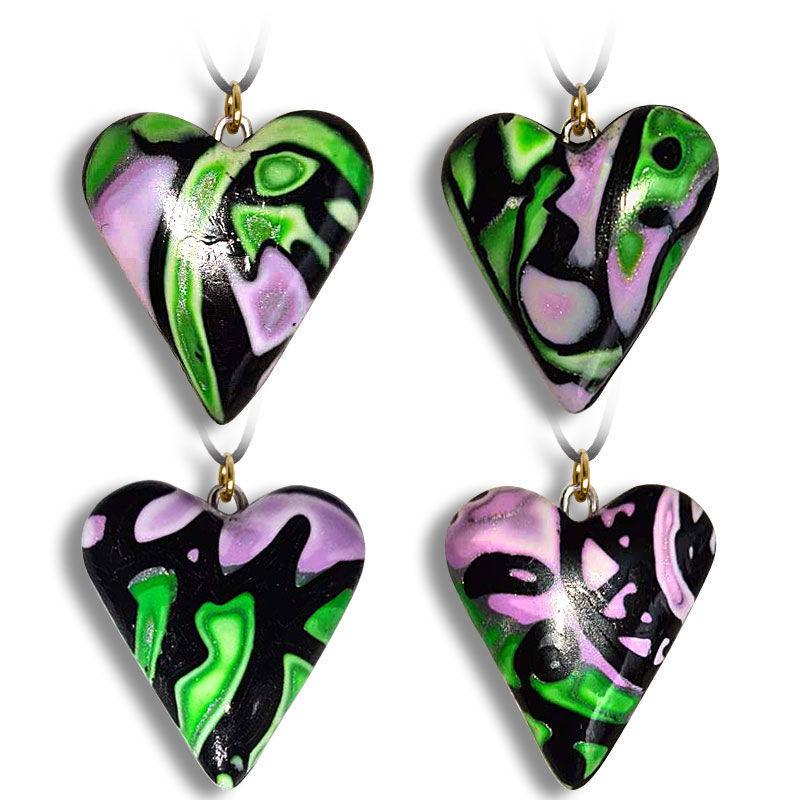 Hjertesmykke Hidden Magic, grønn & lilla, håndlaget -28020703