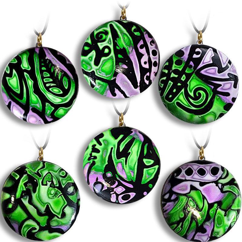 Smykke med sort & Grønn-lilla mønster, håndlaget -280207000