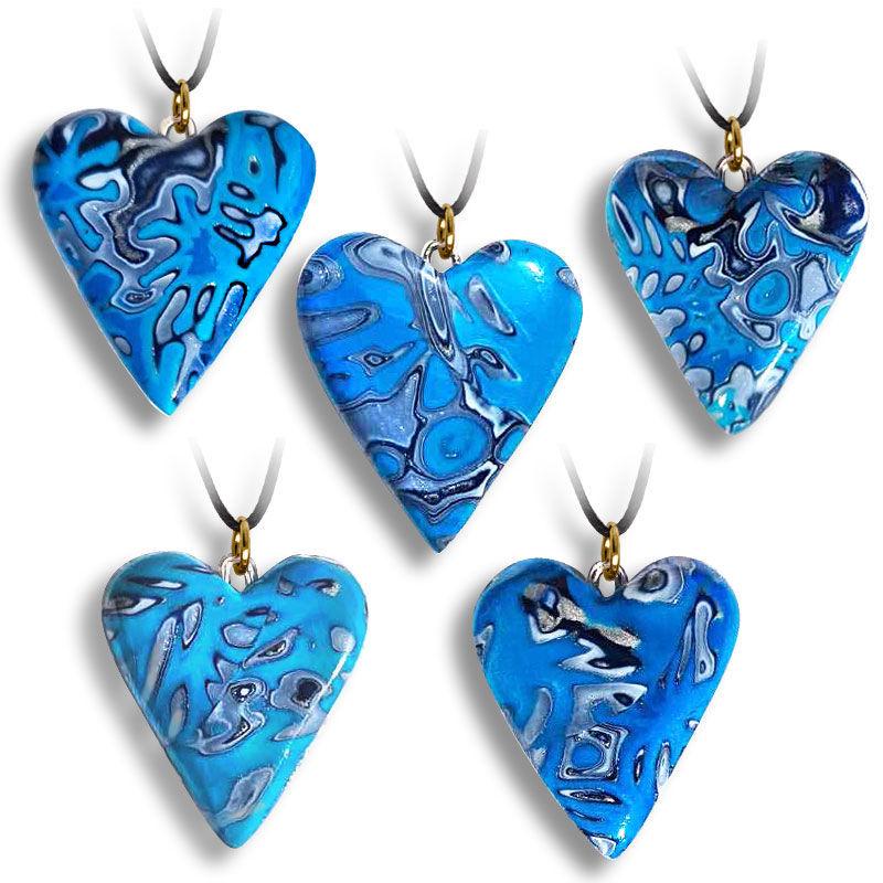 Hjertesmykke Hidden Magic, Deep blue sea, håndlaget -28020707