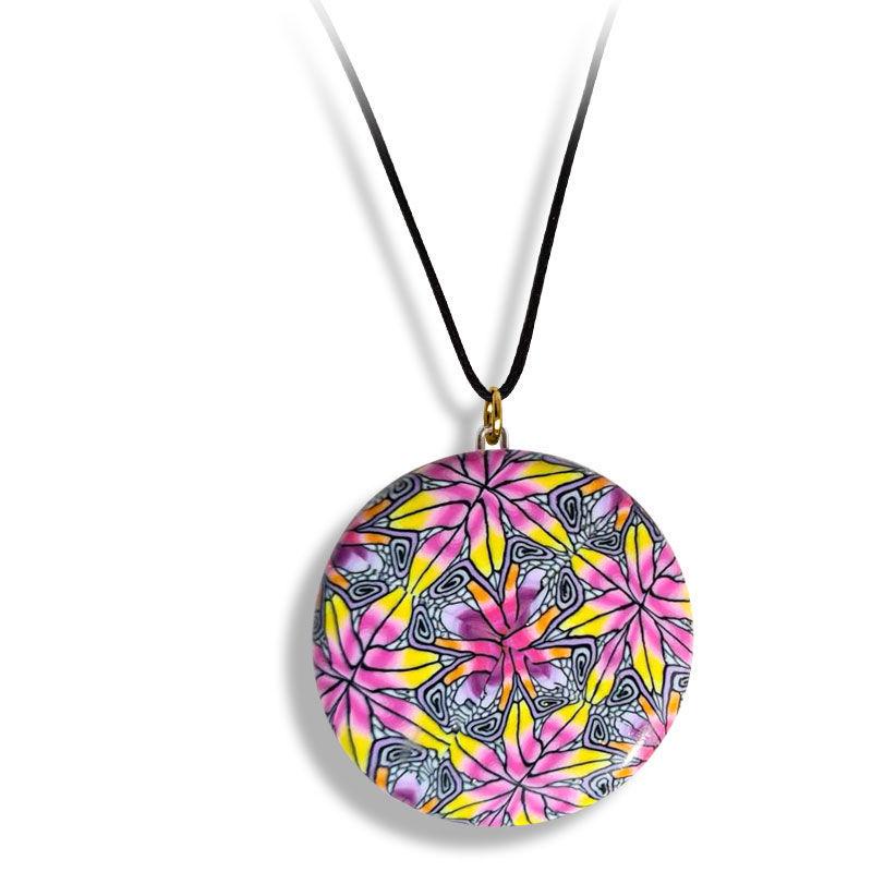 Smykke Kaleidoskop, Rosa og gul, håndlaget -28020708