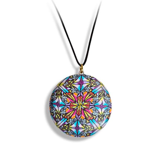 Smykke Kaleidoskop med rød blomst, håndlaget -28020711