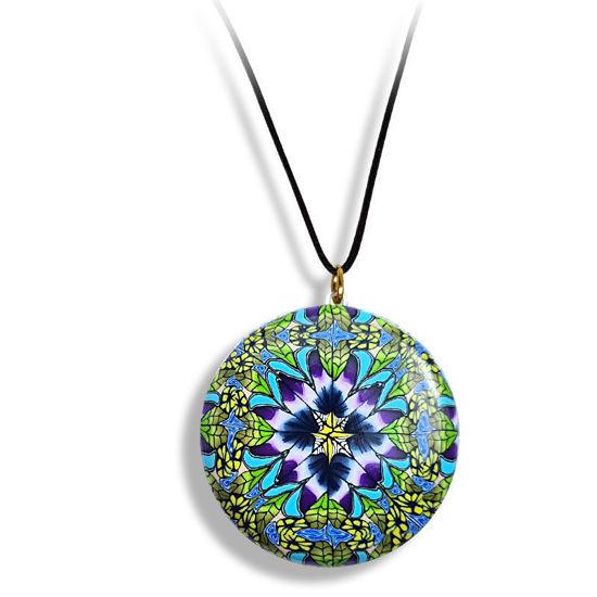 Smykke Kaleidoskop med Blå blomst, håndlaget -28020712