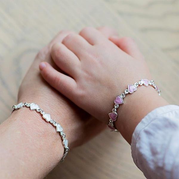 Armbånd i sølv - Hvite hjerter - 22203