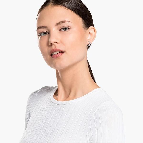 Swarovski øredobber Vittore Mini Hoop, hvitt - 5562126