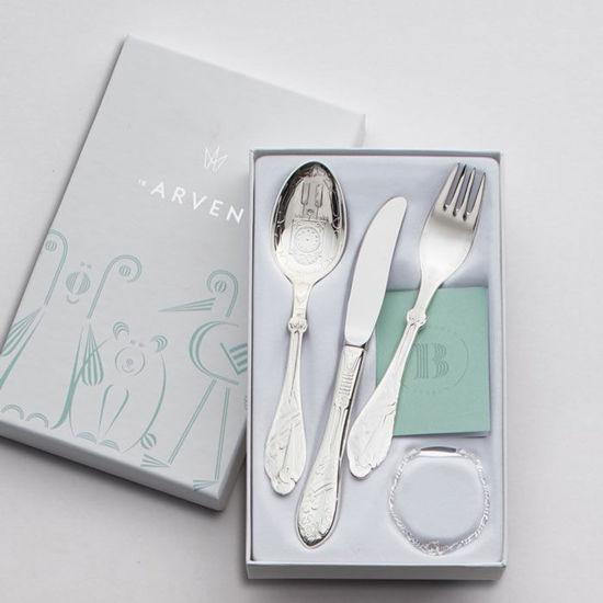 Sølv set skje kniv gaffel Stork - 18033