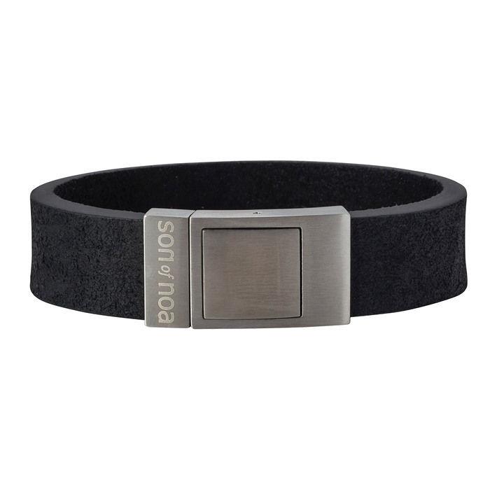 Herre armbånd i calvelskinn, svart. SON of NOA - 897001BLACK19