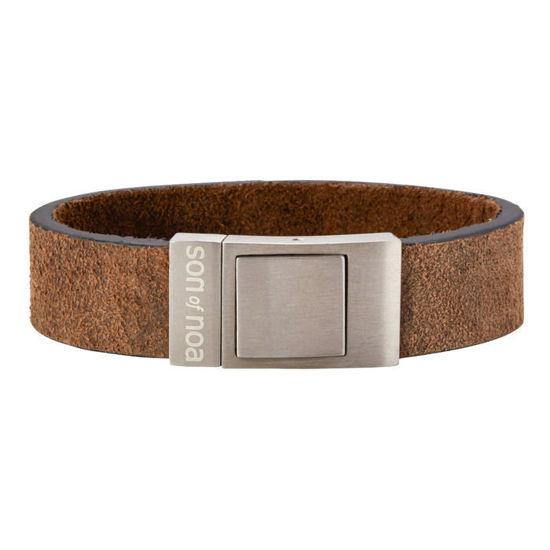 Herre armbånd i calvelskinn, mørkebrun. SON of NOA - 897001GREY19