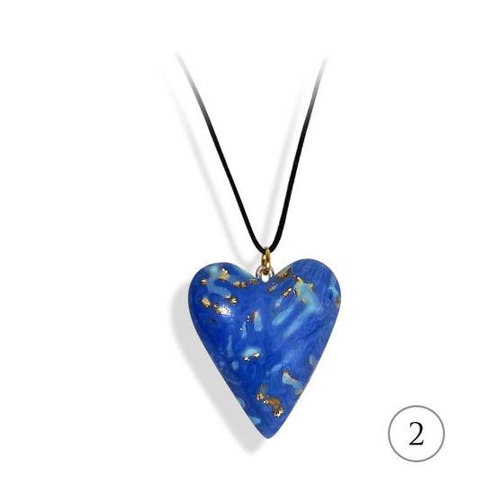 Hjertesmykke blå, håndlaget 25x23 mm-28020723