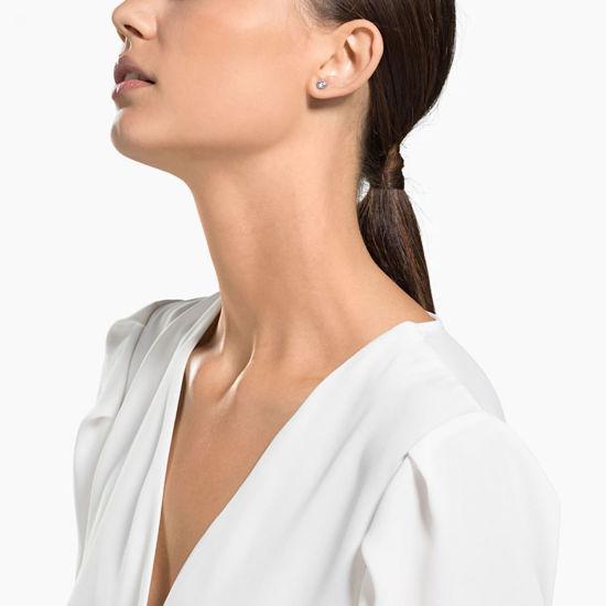 Swarovski øredobber Attract Round Pierced Earrings, White, Rhodium plated - 5408436