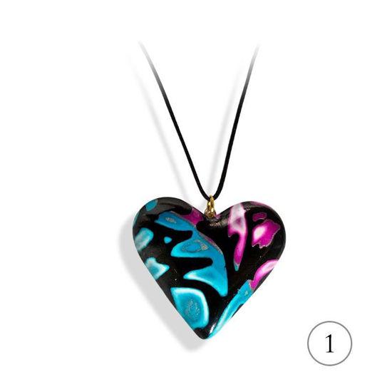 Hjertesmykke lilla &blå, 34x34 mm, med snor-28020720