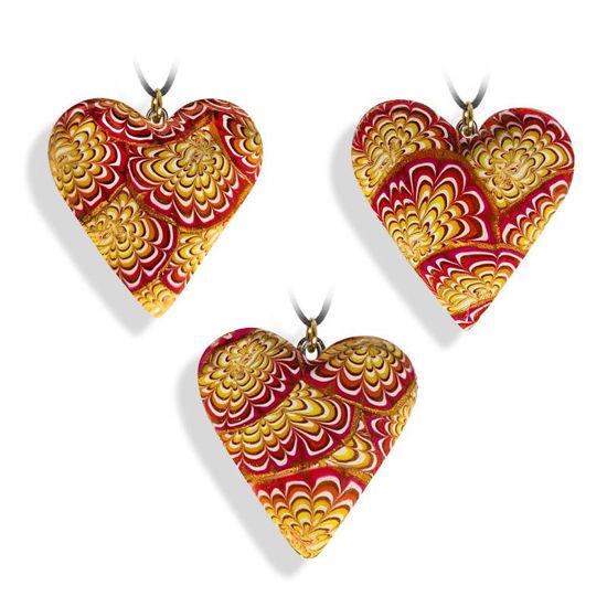 Hjertesmykke Krysantemum, rød&gul, 34x34 mm, med snor -28020727