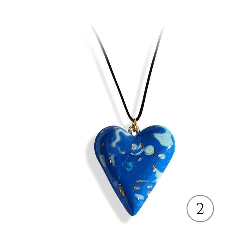 Hjertesmykke blå, 25x23 mm, med snor -28020730