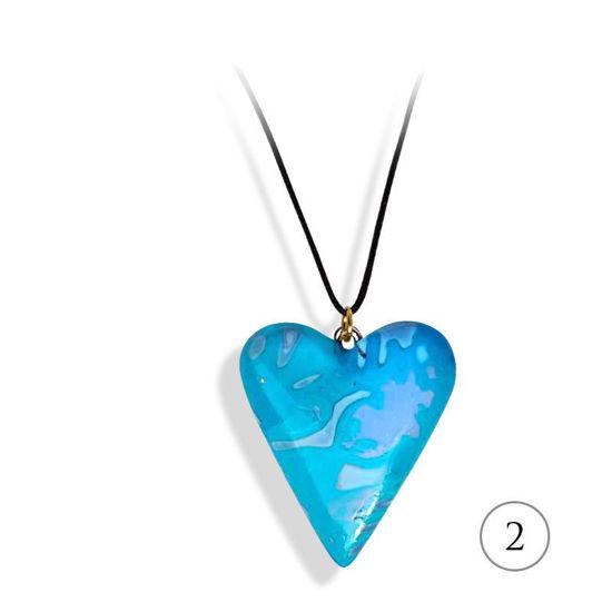 Hjertesmykke Lyse blå, 25x23 mm, med snor -28020731