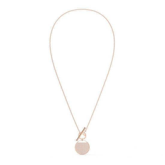 Swarovski smykke Ginger T Bar Necklace, White, Rose-gold tone plated  - 5567529