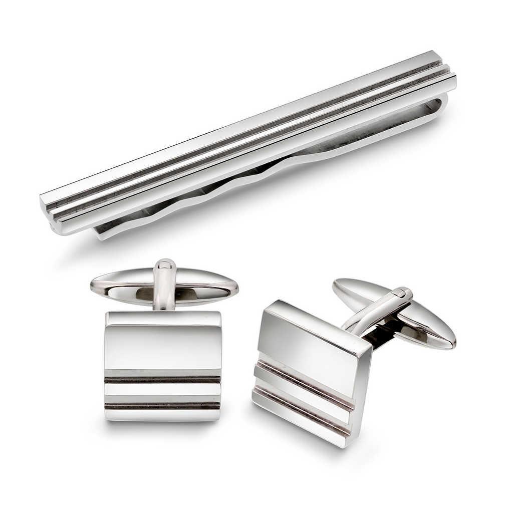 Stål sett mansjettknapper og slipsnål - 972331