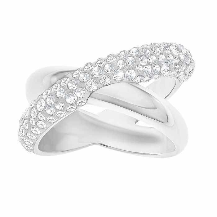 Swarovski Crystaldust Cross Ring, Gray str 58 - 5372898
