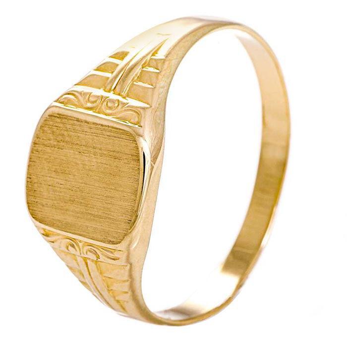 Signetring til herre i gult gull - 57028