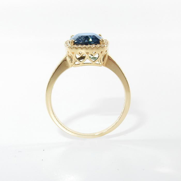 Diamantring i gult gull 0,115ct TW-Si med Topas - COC9890