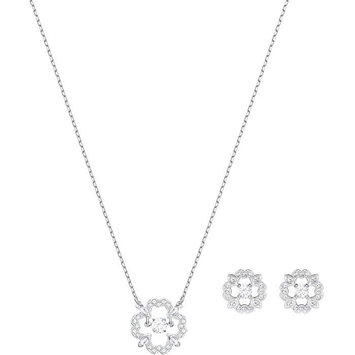 Swarovski smykkesett Sparkling Flower, hvitt - 5397867