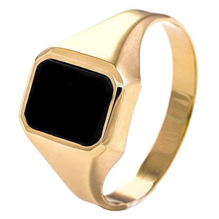 Signetring til herre i gult gull med Onyx - 56774