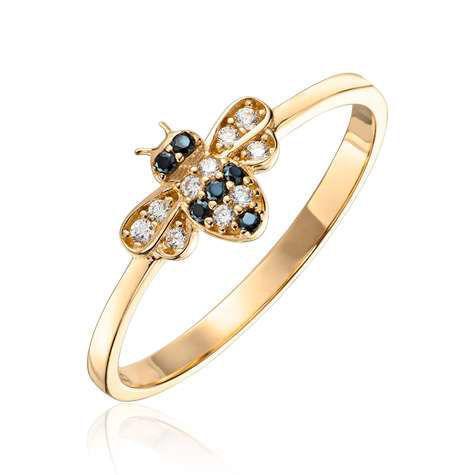 Ring Bie i gult gull med Cubic Zirkonia - 57268