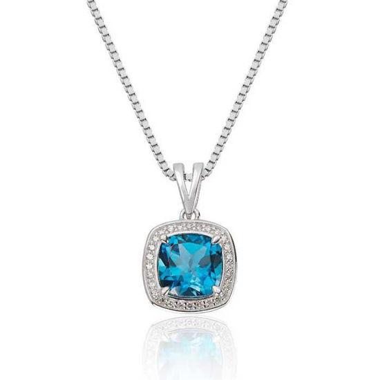 Diamantsmykke i gull med 0,08 ct W-Si & Topaz-27246