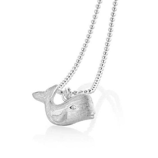 Smykke hval i sølv med zirkonia - 2995642