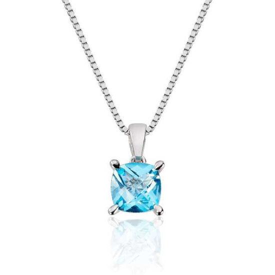 Smykke i hvitt gull med blå topas -27240