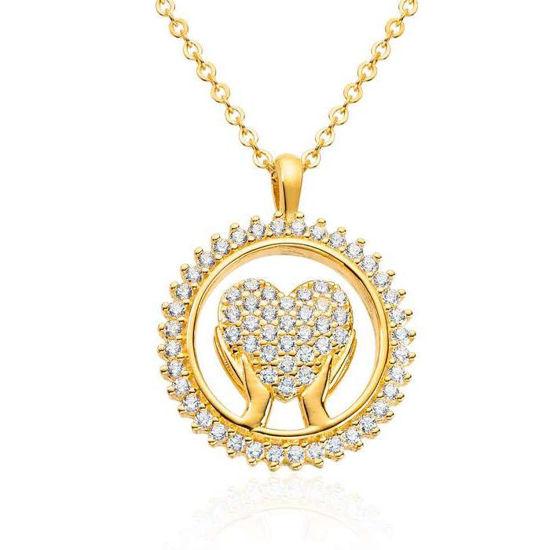 Anheng hjerte i forgylt sølv med zirkonia- 3002342