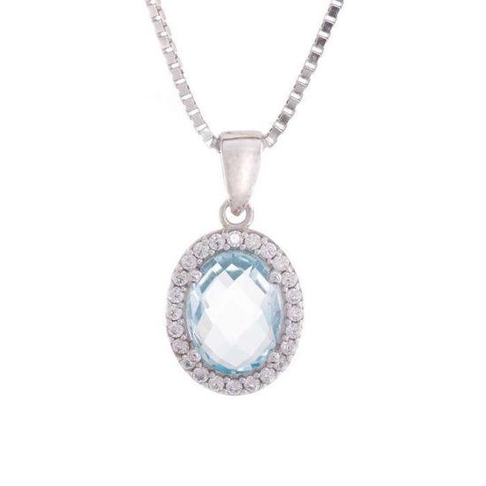 Smykke i Hvitt gull med blå zirkonia - 27380