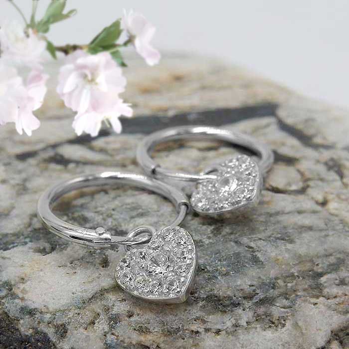Sølv øredobber Heart, hvitt - 10321hh