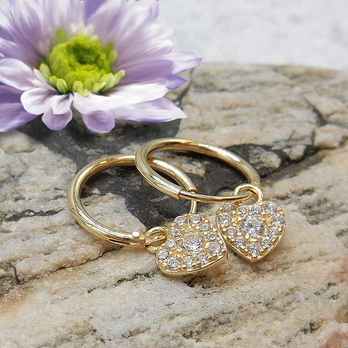 Sølv øredobber Heart, gult - 10321hg