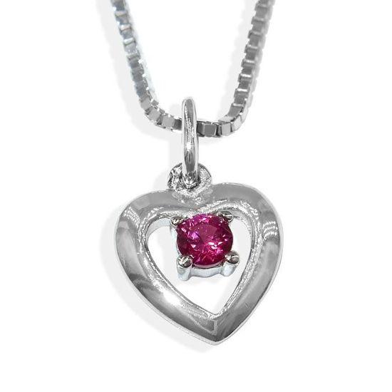 Smykke hjerter med stein i sølv, til barn - 90921