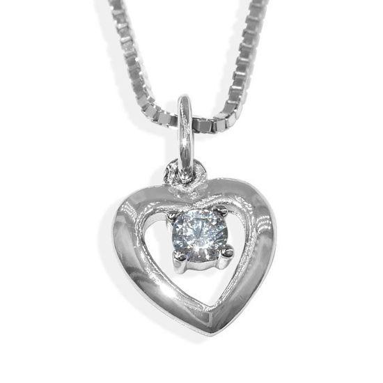Sølvsmykke hjerte med hvitt zirkonia, til barn - 9095