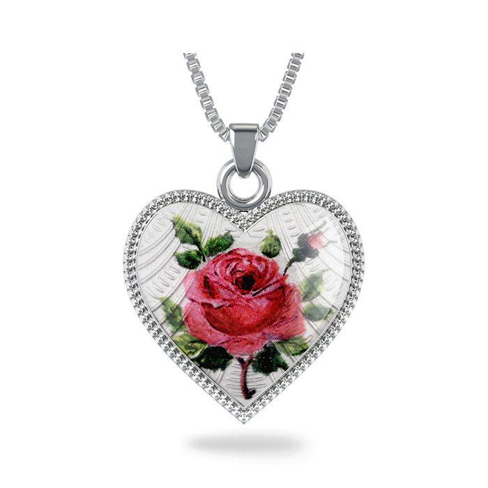 Smykke Rose hjerte med Fader Vår i sølv, til barn - 270710