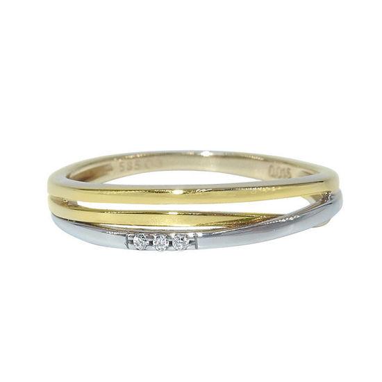 Diamantring i hvitt & gult gull 0,08 ct W-Si -BUR536356