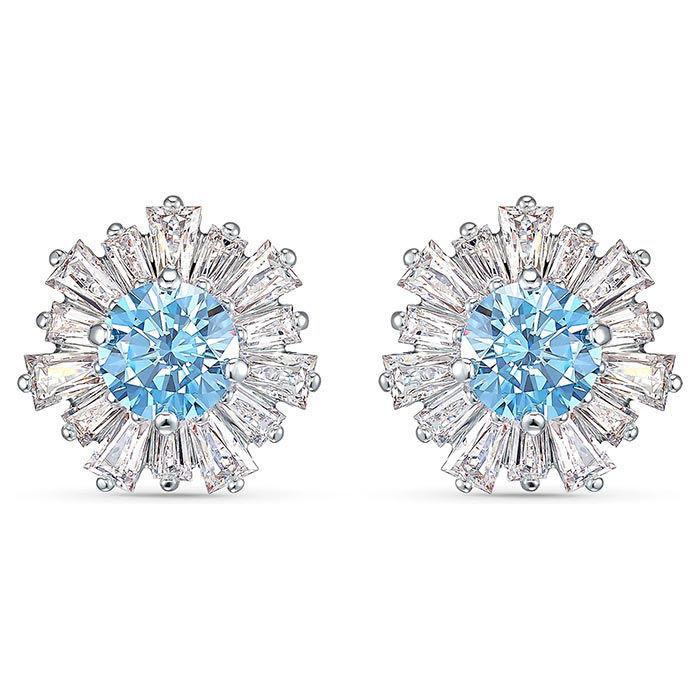 Swarovski øredobber Sunshine Pierced Earrings, Blue, Rhodium plated - 5536741