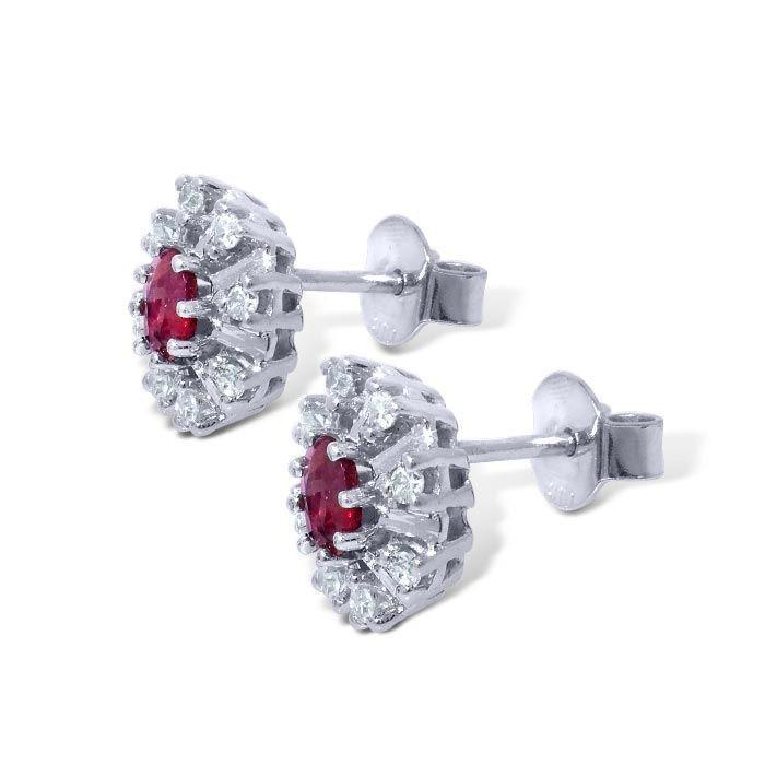 Diamant øredobber i gull 14kt med 0,12 ct W-SI og rubin-270120