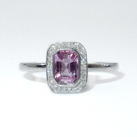 Diamantring i hvitt gull 0,07ct TW-Si med rosa safir - COC007