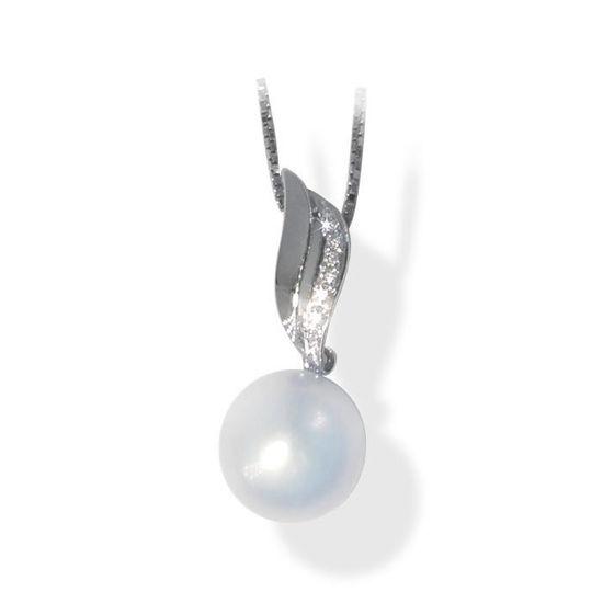 Smykke i hvitt gull med 0,05 ct W-Si og perle