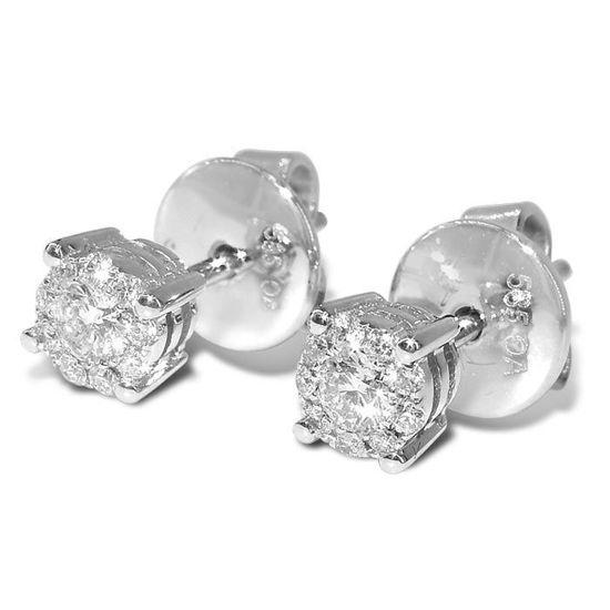 Ørepynt i hvitt gull 14 kt/585 med diamanter med 0,16 ct W-Si