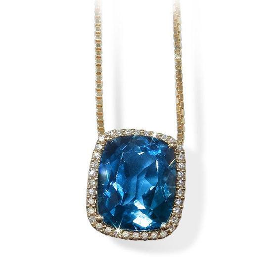 Diamantsmykke i gull med 0,115 ct TW-Si & Topas-coc0115720