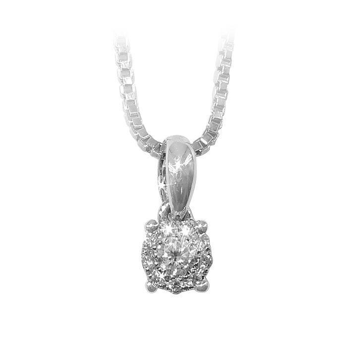 Diamantsmykke i hvitt gull med 0,08 ct W-Si-coc083150