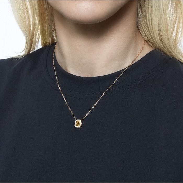 Swarovski smykke Millenia necklace Square Swarovski Zirconia, yellow, gold-tone - 5598421